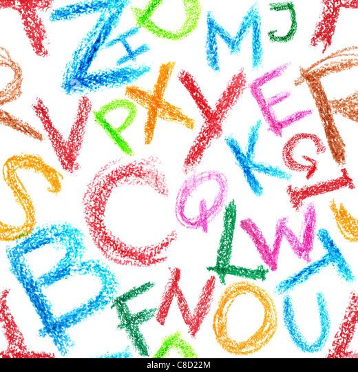 Nahtlose Muster - Crayon Alphabet auf weißem Hintergrund Stockbild