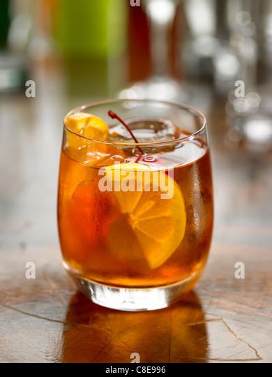 Old Fashioned Bourbon cocktail Stockbild