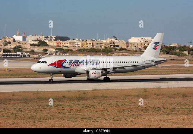 Reisen Sie Service Airbus A320 von Malta Stockbild