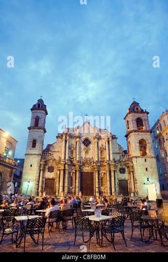 Outdoor Küche, San Cristobal Kathedrale, Plaza De La Catedral, Habana Vieja (Altstadt, UNESCO-Weltkulturerbe, Stockbild