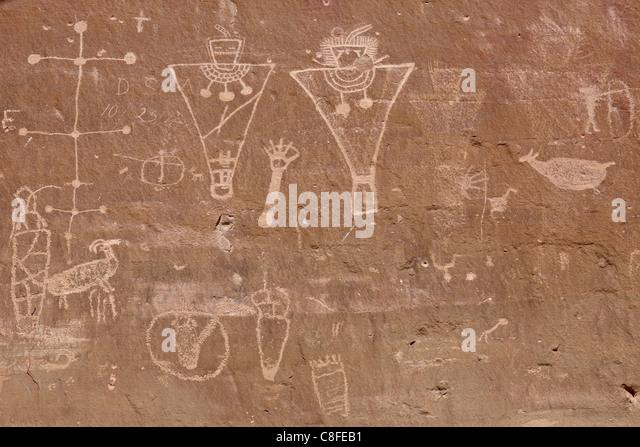 Petroglyphen aus der Fremont-Kultur, Sego Canyon, Utah, Vereinigte Staaten von Amerika Stockbild