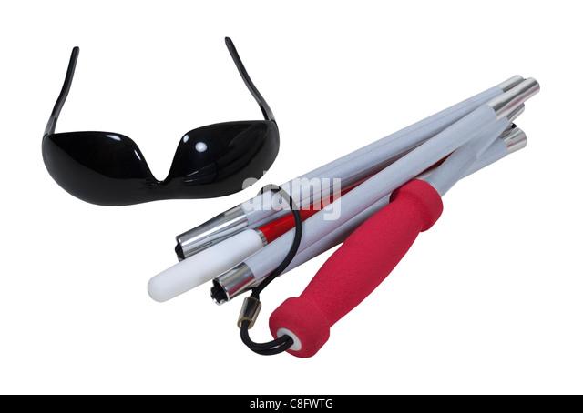Verdichtet, Blindenstock mit Vorsicht Streifen und ein Blackout Brille - Pfad enthalten Stockbild