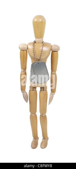 Holzmodell tragen militärischen Erkennungsmarken hergestellt aus Metall mit einer Perlen Kette - Pfad enthalten Stockbild