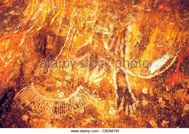 Aborigines Kunst Höhlenmalereien im Nordwesten von Australien. Stockbild