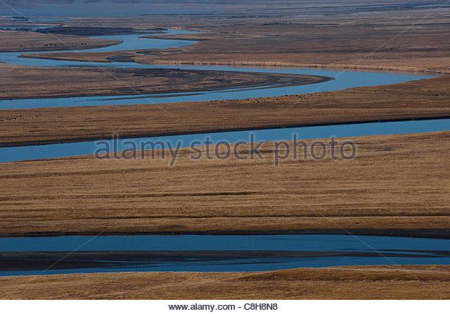 Dies ist der zweite längste Fluß in China (nach dem Jangtse) Stockbild
