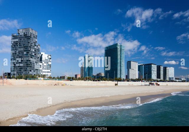 Catalunya, Barcelona, Spanien, Europa, Diagonal Mar, Uferpromenade, Strand Stockbild