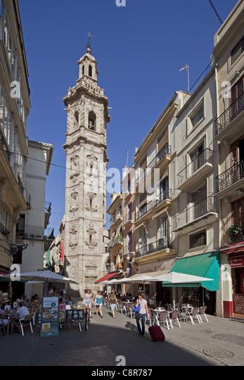 Santa Catalina Kirchturm, Valencia, Spanien Stockbild