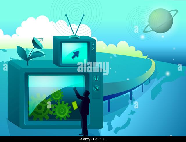 Illustration der Satellitenschüssel und ein Mann Stockbild