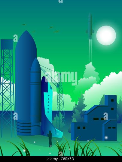 Illustration der Rakete Stockbild