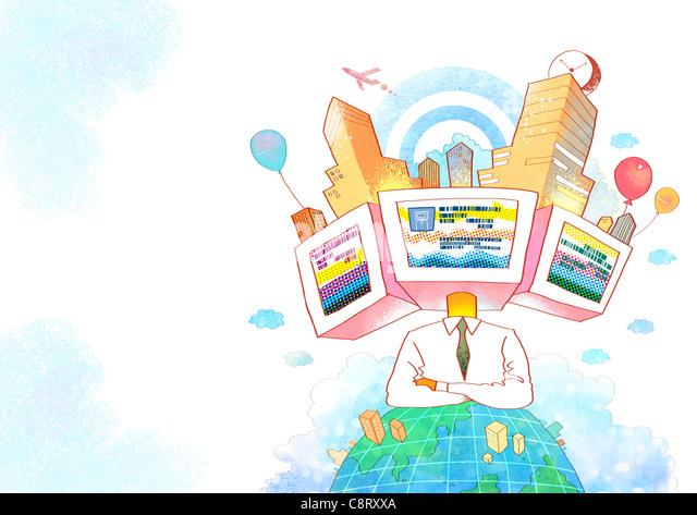 Konzept der globalen Kommunikation - Stock-Bilder
