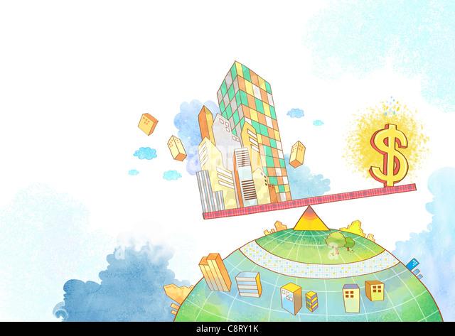 Abbildung von Dollarzeichen und Gebäuden auf Wippe Stockbild