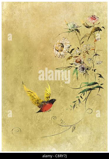 Vogel auf blühender Baum Stockbild