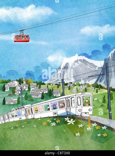 Seilbahn und Spielzeugeisenbahn auf grüne Landschaft Stockbild