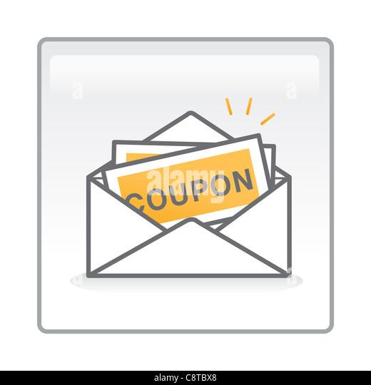 Abbildung von Coupons in einem Umschlag Stockbild