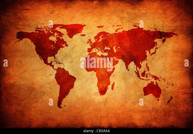Weltkarte auf einer alten Leinwand. Stockbild