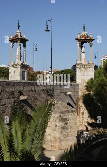 Puente del Mar, Römerbrücke, Valencia, Spanien Stockbild