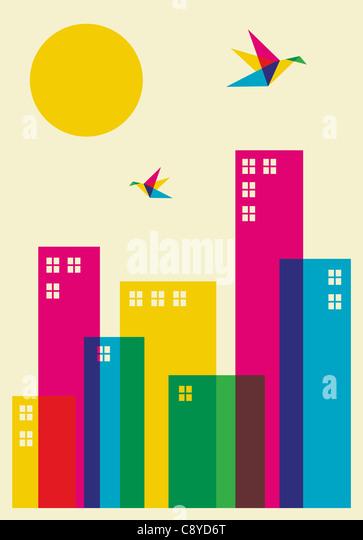Frühling in der Stadt. Voller Farbe Brummen Vögel fliegen über die Stadt. Vektor-Datei zur Verfügung. Stockbild
