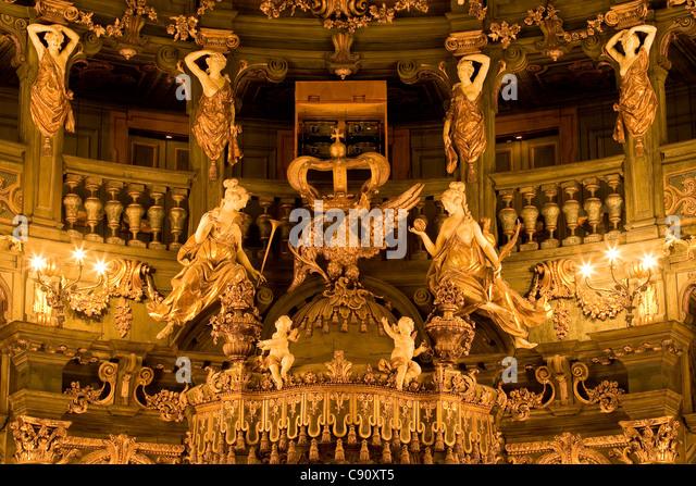 Innenansicht des Markgrafen des Opera House, einem barocken Opernhaus, Bayreuth, Bayern, Deutschland, Europa Stockbild