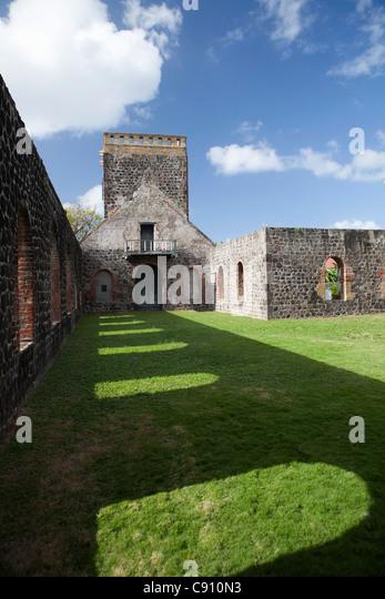 Den Niederlanden, Oranjestad, Sint Eustatius Insel, Niederländische Karibik. Ruinen der Niederländisch Stockbild
