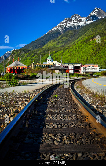 Close up Portrait of White Pass & Yukon Route Bahngleise führt zu Skagway, Alaska Southeast, Sommer Stockbild