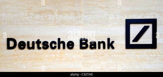 Deutsche Bank-Zeichen auf dem Gelände in der City of London Stockbild