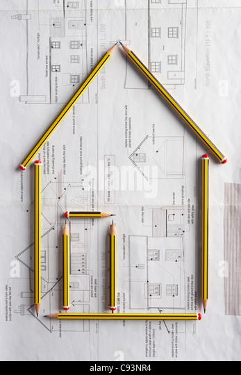Architekturzeichnung und Bleistifte Stockbild