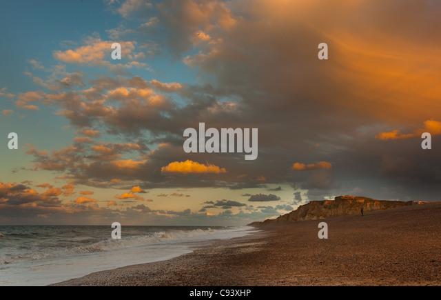 Weybourne Beach Norfolk UK Herbst Sonnenuntergang Stockbild