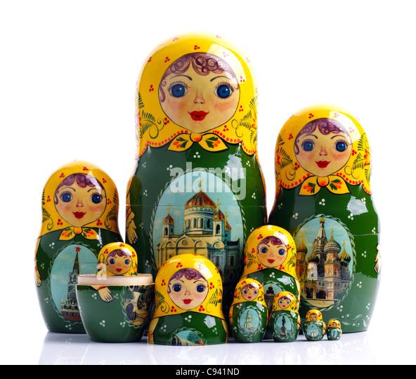 Matroschka - Russisch verschachtelt Puppen Stockbild