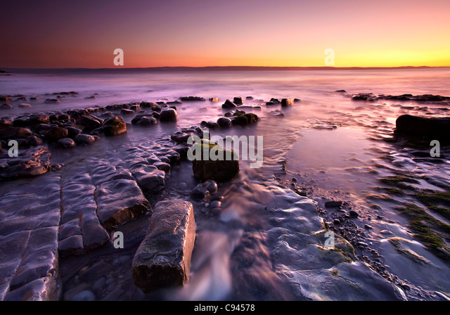 Abenddämmerung am Nash Point, Glamorgan Heritage Coast, South Wales, Australia Stockbild