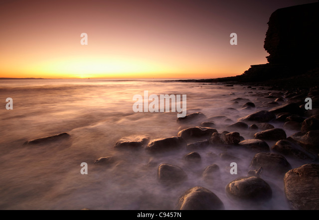 Sonnenuntergang am Nash Point, Glamorgan Heritage Coast, South Wales, Australia Stockbild