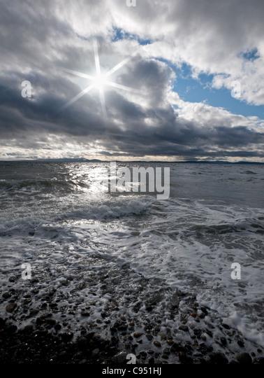 Pazifischen Ozean im Sturm und Wellen Stockbild