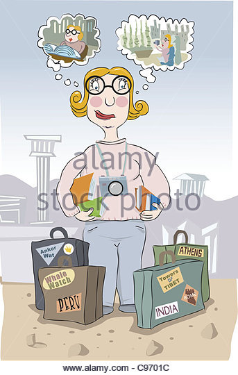 Urlaub Planung Frau Stockbild