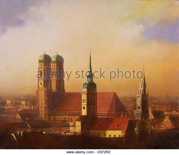München Stadt-Silhouette auf Morning City städtische Urbanität Städte Stadt Inte Stockbild