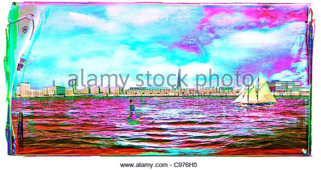 Hafen City Hamburg Weihnachten Weihnachten Zeit Weihnachten Weihnac Stockbild