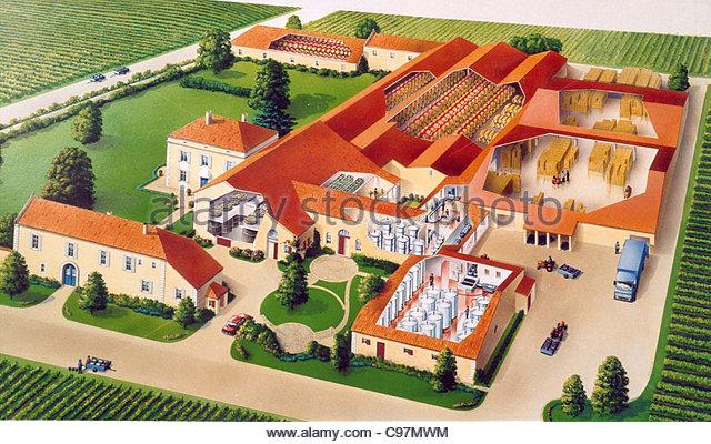 Weingut Frankreich Querschnitt cross section Querschnitte Querschnitt zeichnen Stockbild