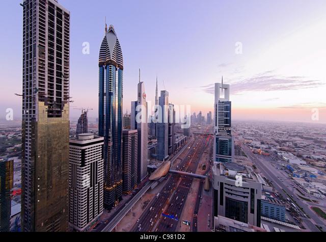 Blick auf Downtown Dubai, Türme, Hochhäuser, Hotels, moderne Architektur, Financial District, Sheikh Zayed Stockbild