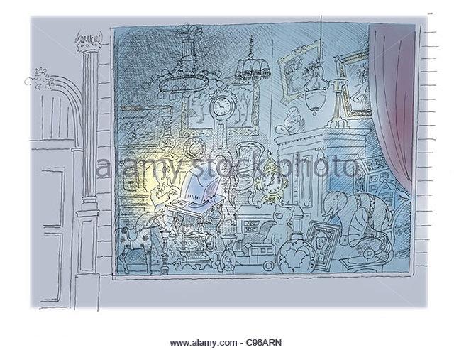 der Antiquar Stockbild