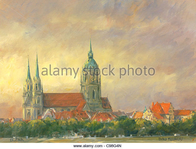 Serie München St. Pauls-Kirche Stockbild