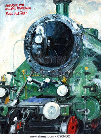 Serie München Dampf Lok Königlich Bayerischen Transport Eisenbahnmuseum Stockbild