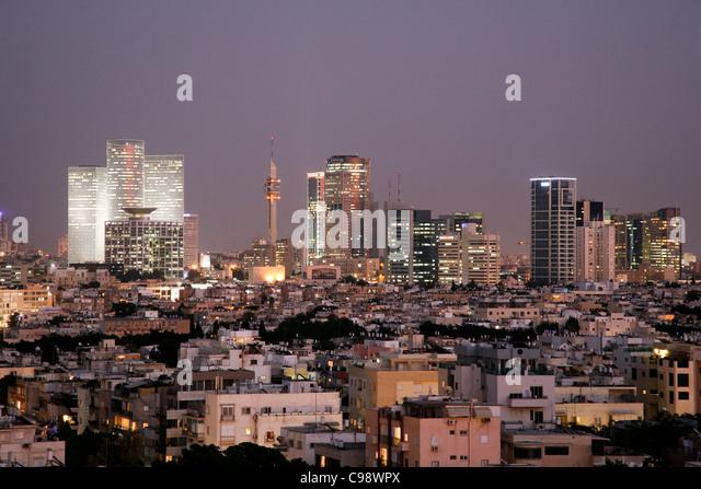 Blick über die Skyline von Tel Aviv, Israel. Stockbild