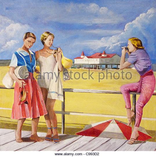 50er Jahre Mädchen am Strand Sommer Stockbild