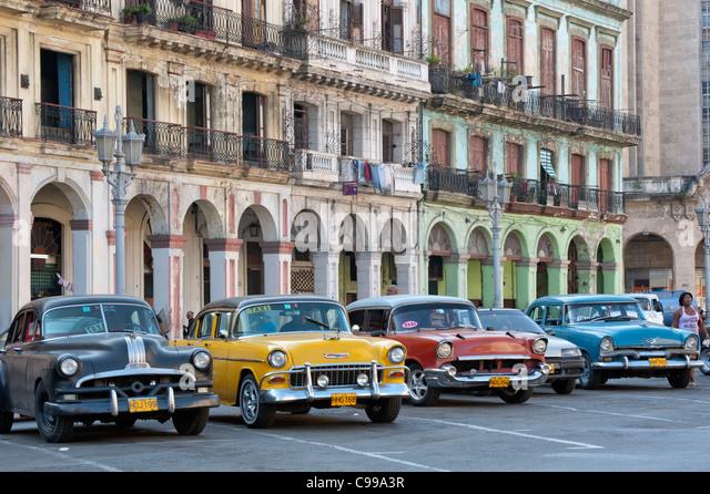 Oldtimer Zentrum Havanna Vieja Capitolio Kuba Stockbild