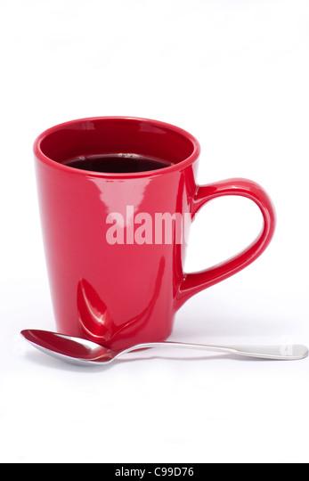 Rote Kaffeetasse auf weißem Hintergrund Stockbild