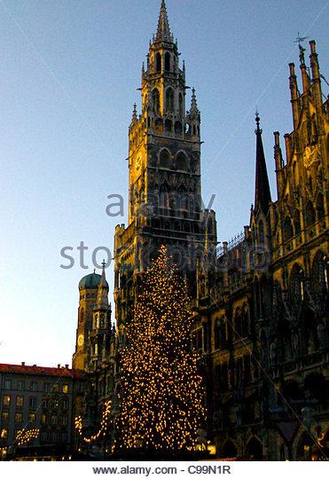 Rathaus München Weihnachten Markt Marienplatz Stockbild