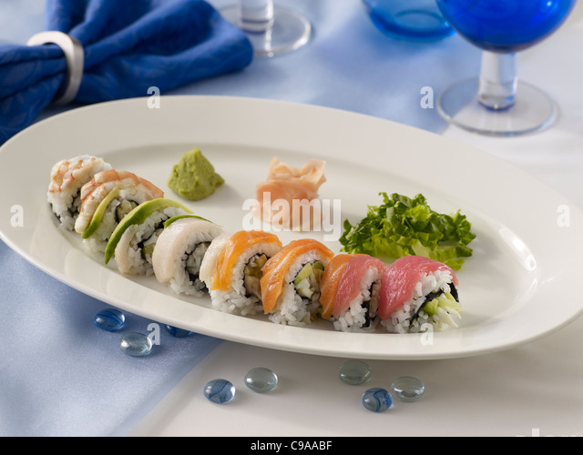 Rainbow Roll Sushi Stockbild