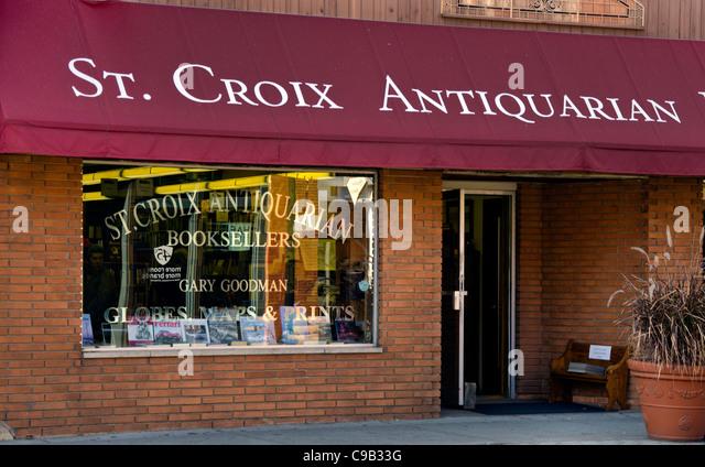 St. Croix Antiquariate in Stillwater, Minnesota, einer Stadt bekannt für seine Buchhandlungen, Galerien und Stockbild