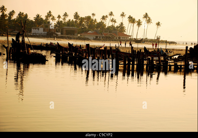 Sonnenuntergang an einem Strand in Kerala - Stock-Bilder