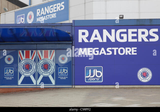 Glasgow Rangers JJB Sports Megastore Zeichen im Ibrox Stadium in Glasgow, Schottland. JJB sponsor nicht mehr Rangers Stockbild
