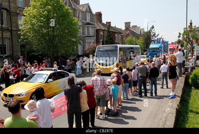 Mittwoch, 23. Mai 2012.  Swindon, Wiltshire, England, UK. Sponsoren Trainer signalisieren die bevorstehende Ankunft Stockbild
