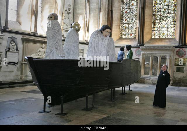 25.05.2012.The längste Anreise mit Ana Maria Pacheco ist auf dem Display in den North Trancept der Kathedrale Stockbild